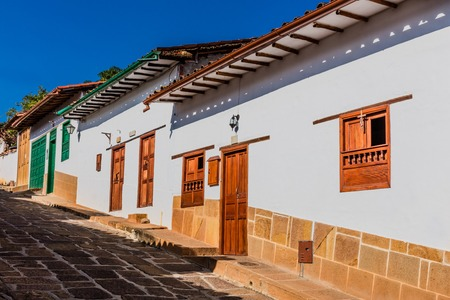 colorful streets of Barichara Santander in Colombia South America