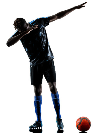 one african soccer player man playing in studio isolated on white background Stok Fotoğraf