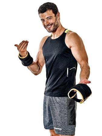 one caucasian fitness man exercising cardio boxing exercises in studio isolated on white background 写真素材 - 104966083