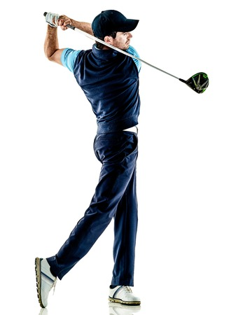 Un homme de race blanche golfeur golfeur en studio isolé sur fond blanc Banque d'images - 104966090