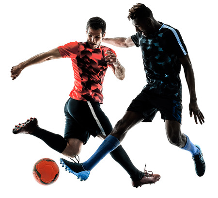 two soccer players men in studio silhouette isolated on white background Stok Fotoğraf - 106001567