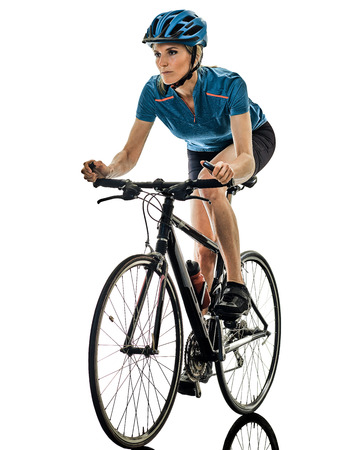 one caucasian cyclist woman cycling riding bicycle isolated on white background