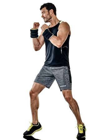 one caucasian fitness man exercising cardio boxing exercises in studio isolated on white background 写真素材 - 107835427