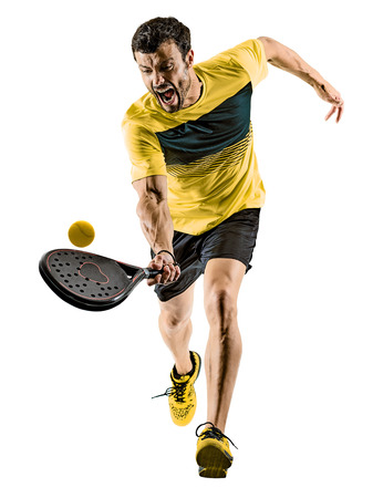 one caucasian man playing Padel tennis player isolated on white background
