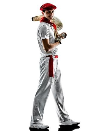 one caucasian Jai alai Basque pelota  Cesta Punta player man isolated on white background silhouette Stock Photo