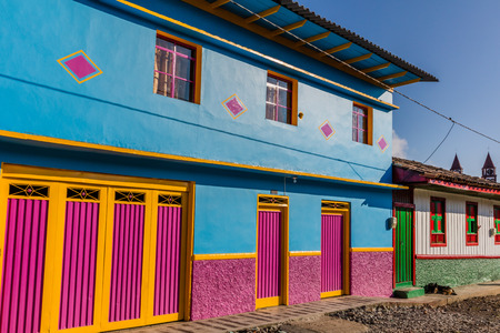colorful buildings of San Felix near Salamina Caldas in Colombia South America Banque d'images