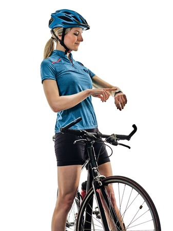 one caucasian cyclist woman cycling riding bicycle time watch isolated on white background Stock Photo