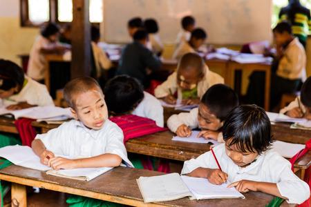 INLE LAKE, MYANMAR - DECEMBER 09, 2016 : children at school in Myanmar (Burma) Editorial