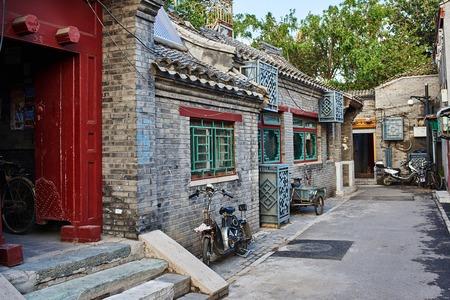 Beijing , China - September 24, 2014:  Chinese traditional Yindingqiao Hutong streets Beijing Chin Editöryel
