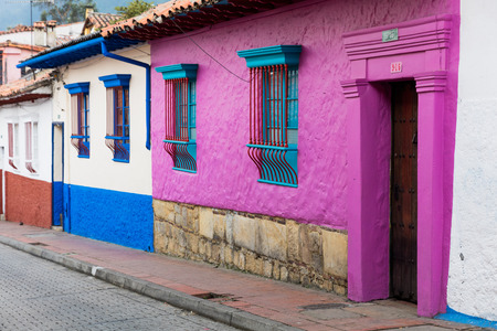 colorful Streets  in La Candelaria aera Bogota capital city of Colombia South America Stock Photo