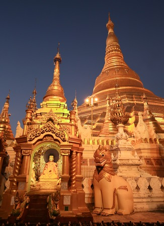 the golden stupa of the Shwedagon Pagoda Yangon in Myanmar Stock Photo