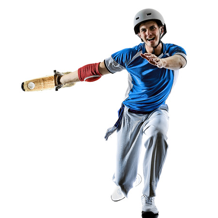 one caucasian Jai alai Basque pelota  Cesta Punta player man isolated on white background silhouette Stock Photo