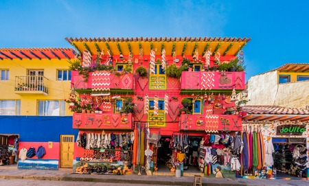 Villa De Leyva, Colombia  - February 7, 2017 : colorful traditional house souvenir gift shop Villa de Leyva Boyaca in Colombia South America Редакционное