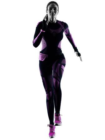 ein junger kaukasischer Frauenläufer, der den Rüttler rüttelt lokalisierten Schattenbildschatten auf weißem Hintergrund läuft