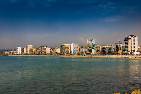 Sidon Saida skyline cityscape waterfront in South Lebanon Middle east Editorial