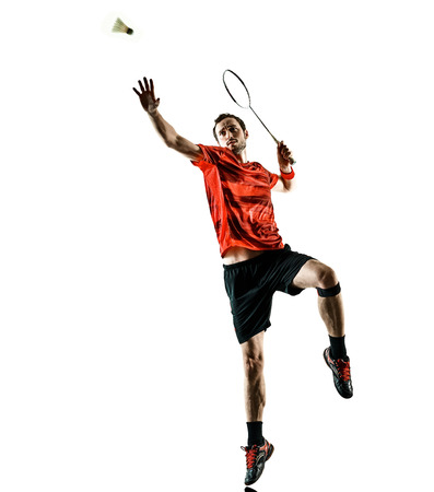 one caucasian Badminton player man in studio shadow silhouette isolated on white background Banco de Imagens - 115774788