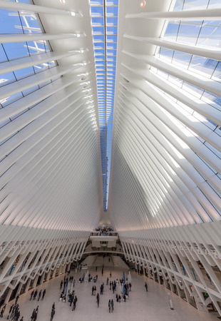 New York CITY, USA - APRIL 2, 2018 : interior view of The Occulus World Trade Center station  design by architect  Manhattan Landmarks in New York City USA