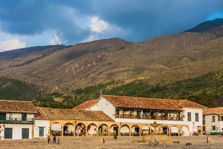 Villa De Leyva, Colombia - February 9, 2017 : Plaza Mayor main square and landmark of this boyaca colombian town Editorial