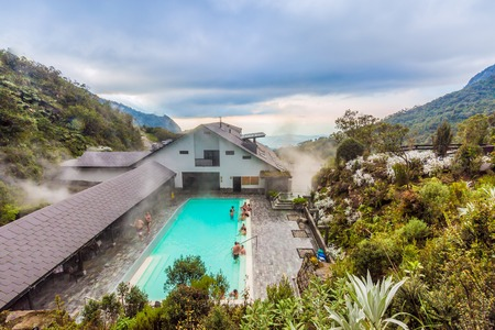 Los Termales , Colombia - February 19, 2017 : tourist bathing hot springs swimming pool of Hotel Spa Los Termales main attraction in Caldas Sajtókép