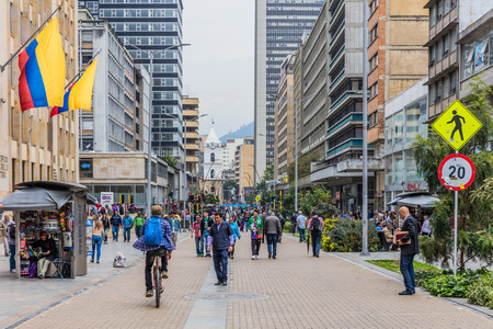 Bogota , Colombia - February 23, 2017 : people walking Carrera Septima main street of the colombian capitol