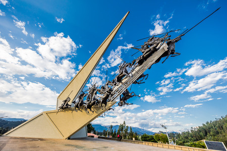 Paipa , Colombia - February 14, 2017 : Created by artist Rodrigo Arenas Betancur, the Vargas Swamp Lancers Memorial is an impressively grandiose depiction of a frozen moment in time during an unlikely and successful skirmish during the Colombian War of In
