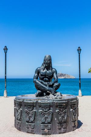 waterfrant statue Tayrona man of Santa Marta Magdalena in Colombia South America Imagens