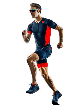 triathlete triathlon runner running in silhouette isolated  on white background