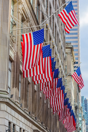 American Flags  floating one of the main Manhattan Landmarks in New York City USA