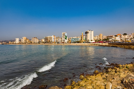 Sidon Saida skyline cityscape waterfront in South Lebanon Middle east Foto de archivo