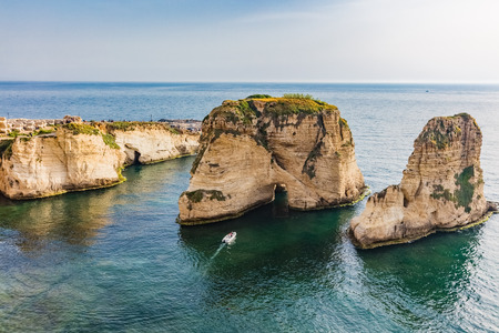 Rouche Rocks  in Beirut capital city of Lebanon Middle east Reklamní fotografie - 121656641
