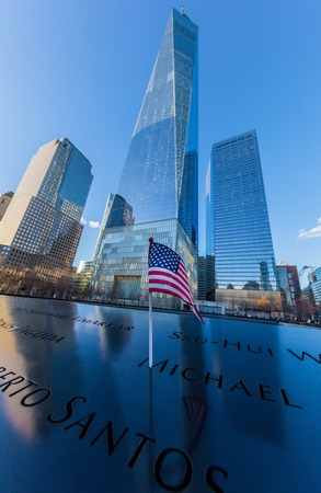 NEW YORK CITY- MARCH 25, 2018 : Ground Zero memorial  one of the main Manhattan Landmarks