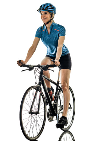 one caucasian cyclist woman cycling riding bicycle isolated on white background Reklamní fotografie