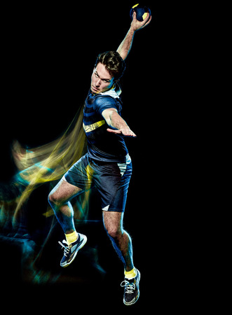 one caucasian handball player young man isolated on black background with speed light painting effect motion blur Stockfoto
