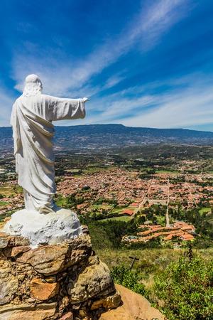 Mirador El Santo and his Jesus statue Villa de Leyva  skyline cityscape Boyaca in Colombia South America Imagens
