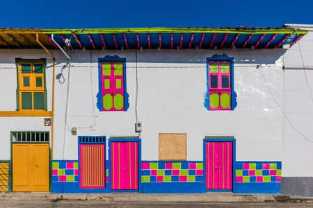 colorful buildings of San Felix near Salamina Caldas in Colombia South America 写真素材