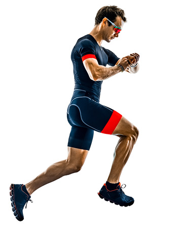 triathlete triathlon runner running in silhouette isolated  on white background