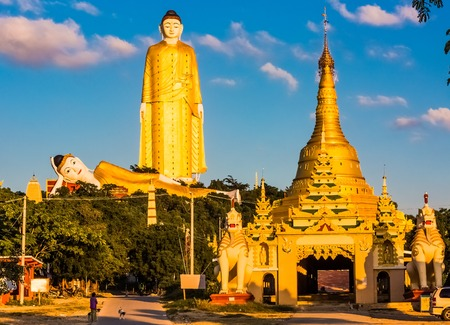 The Laykyun Sekkya Buddha giants statues standing and reclining near Monywa Myanmar (Burma) Stock Photo
