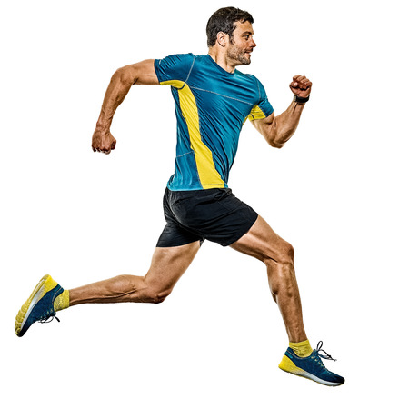 one caucasian handsome mature man running runner jogging jogger isolated on white background Banco de Imagens
