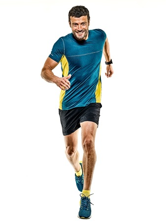 one caucasian handsome mature man running runner jogging jogger isolated on white background Archivio Fotografico