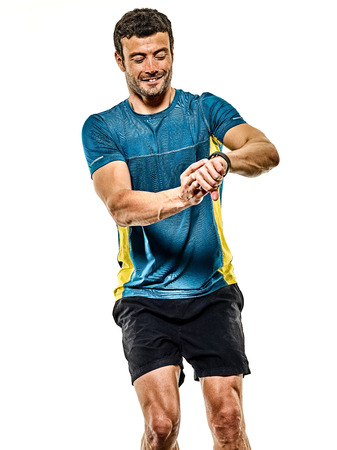 one caucasian handsome mature man running runner jogging jogger isolated on white background Stock Photo