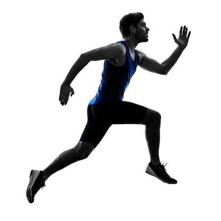 Un corredor caucásico esprinter corriendo corriendo atletismo hombre silueta aislado sobre fondo blanco.