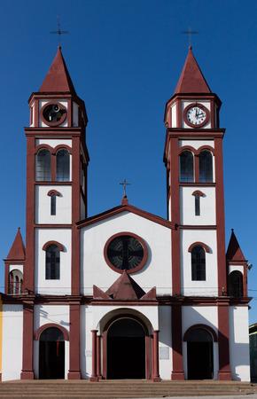 colorful buildings of San Felix near Salamina Caldas in Colombia South America Фото со стока
