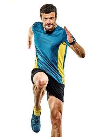 one caucasian handsome mature man running runner jogging jogger isolated on white background Stok Fotoğraf