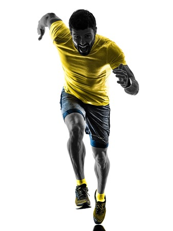 one caucasian man runner running jogging jogger silhouette isolated on white background Stock Photo