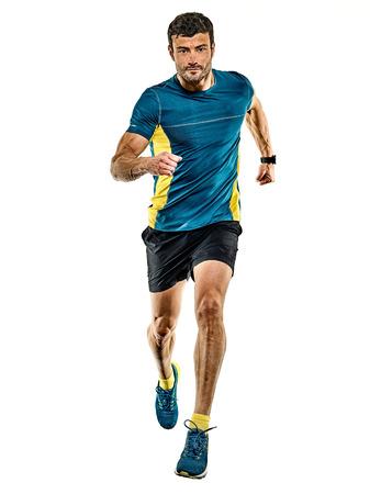 one caucasian handsome mature man running runner jogging jogger isolated on white background Standard-Bild