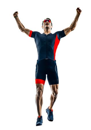 Coureur de triathlon triathlète s'exécutant en silhouette isolé sur fond blanc