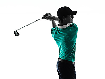 one young caucasian Man Golf golfer golfingshadow silhouette  isolated  on white background Фото со стока - 120855428
