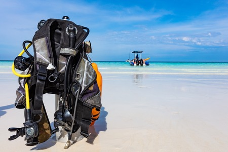 Scuba Diving gear equipment on Kendwa beach in Unguja aka Zanzibar Island Tanzania East Africa
