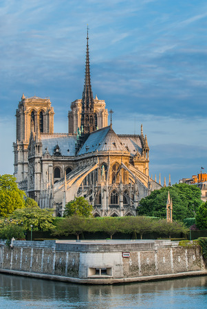 notre dame de paris and the seine river France in the city of Paris in france