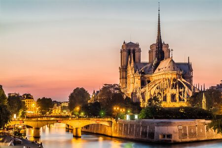 notre dame de paris by night and the seine river France in the city of Paris in france Imagens